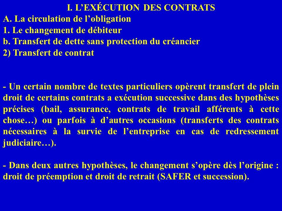 I. L'EXÉCUTION DES CONTRATS