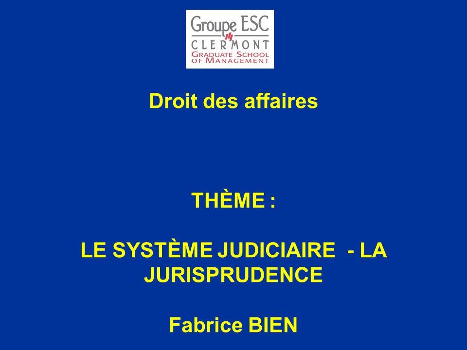 Droit des affaires THÈME : LE SYSTÈME JUDICIAIRE - LA JURISPRUDENCE Fabrice BIEN