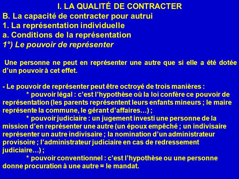 I. LA QUALITÉ DE CONTRACTER