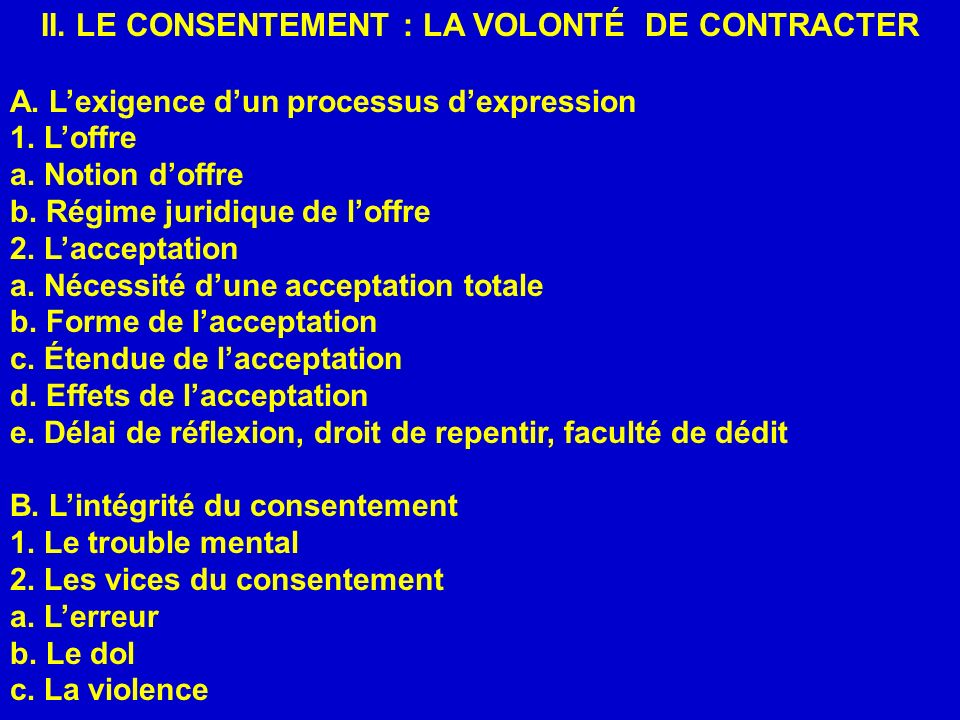II. LE CONSENTEMENT : LA VOLONTÉ DE CONTRACTER