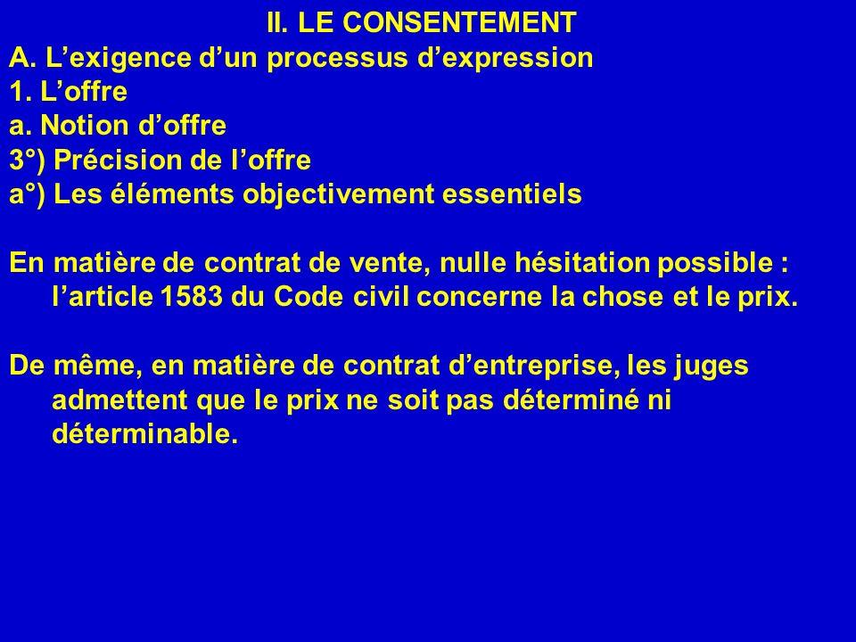 II. LE CONSENTEMENT A. L'exigence d'un processus d'expression. 1. L'offre. a. Notion d'offre. 3°) Précision de l'offre.