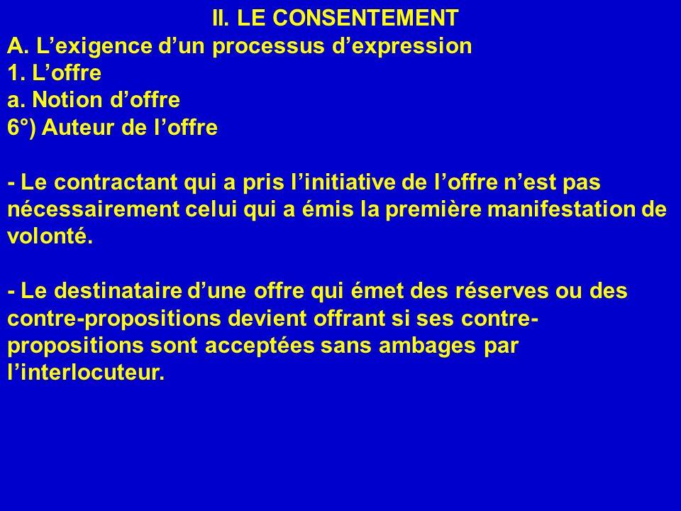 II. LE CONSENTEMENT A. L'exigence d'un processus d'expression. 1. L'offre. a. Notion d'offre. 6°) Auteur de l'offre.