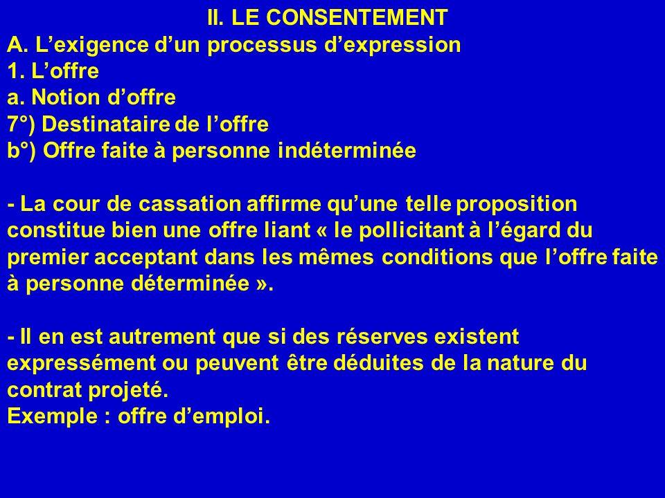 II. LE CONSENTEMENT A. L'exigence d'un processus d'expression. 1. L'offre. a. Notion d'offre. 7°) Destinataire de l'offre.
