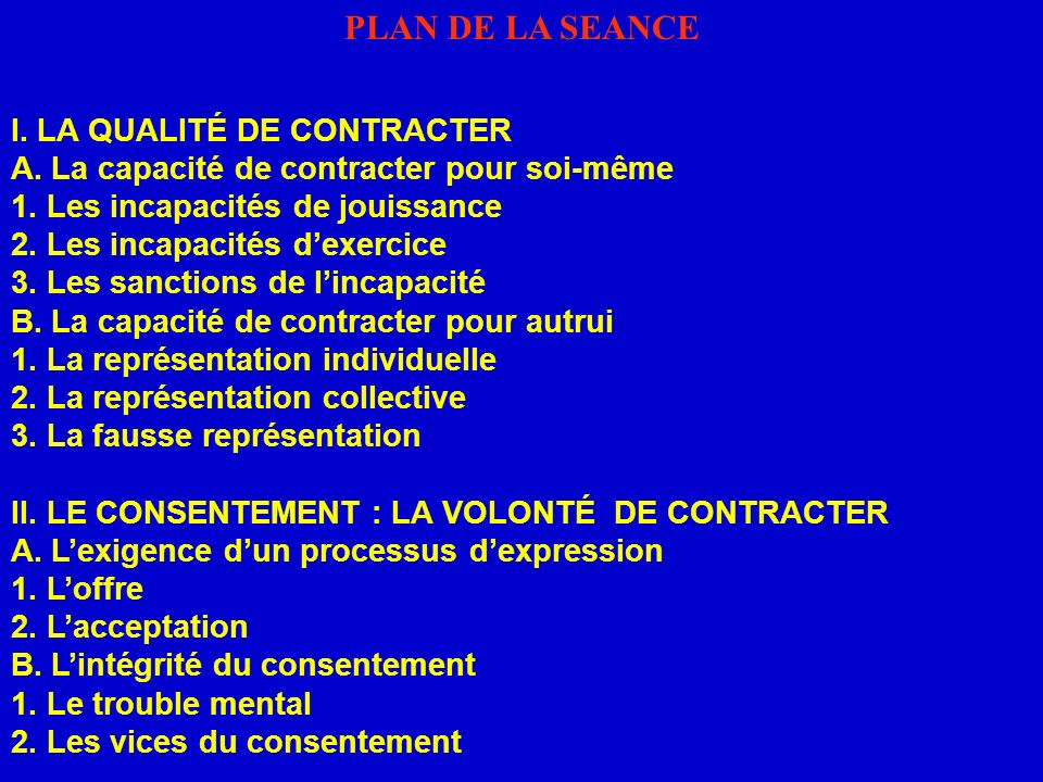 PLAN DE LA SEANCE I. LA QUALITÉ DE CONTRACTER