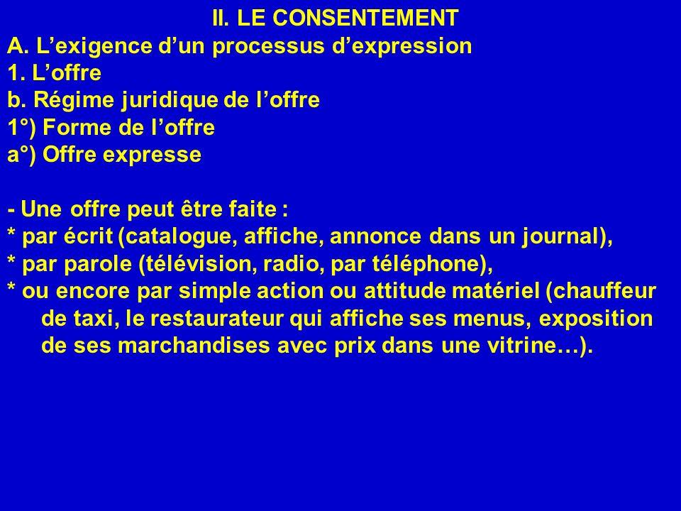 II. LE CONSENTEMENT A. L'exigence d'un processus d'expression. 1. L'offre. b. Régime juridique de l'offre.