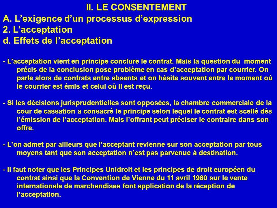 A. L'exigence d'un processus d'expression 2. L'acceptation