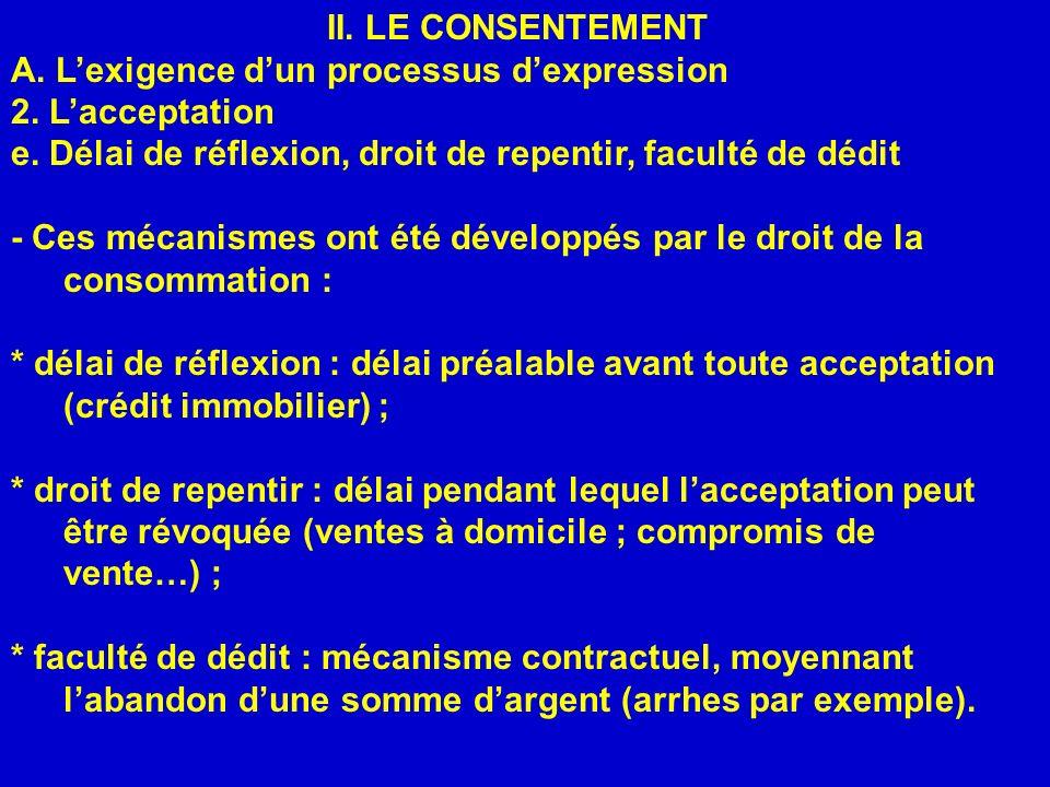 II. LE CONSENTEMENT A. L'exigence d'un processus d'expression. 2. L'acceptation. e. Délai de réflexion, droit de repentir, faculté de dédit.