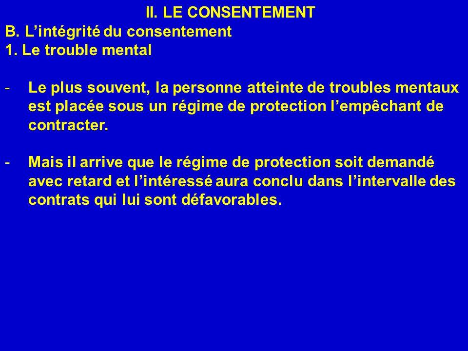 II. LE CONSENTEMENT B. L'intégrité du consentement. 1. Le trouble mental.