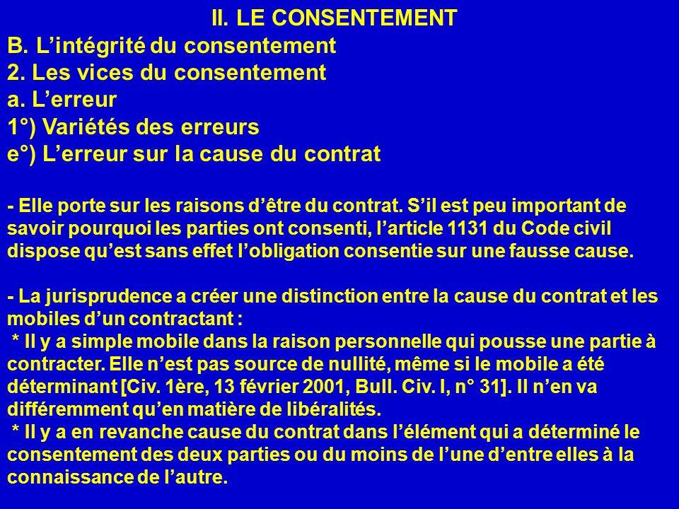 B. L'intégrité du consentement 2. Les vices du consentement