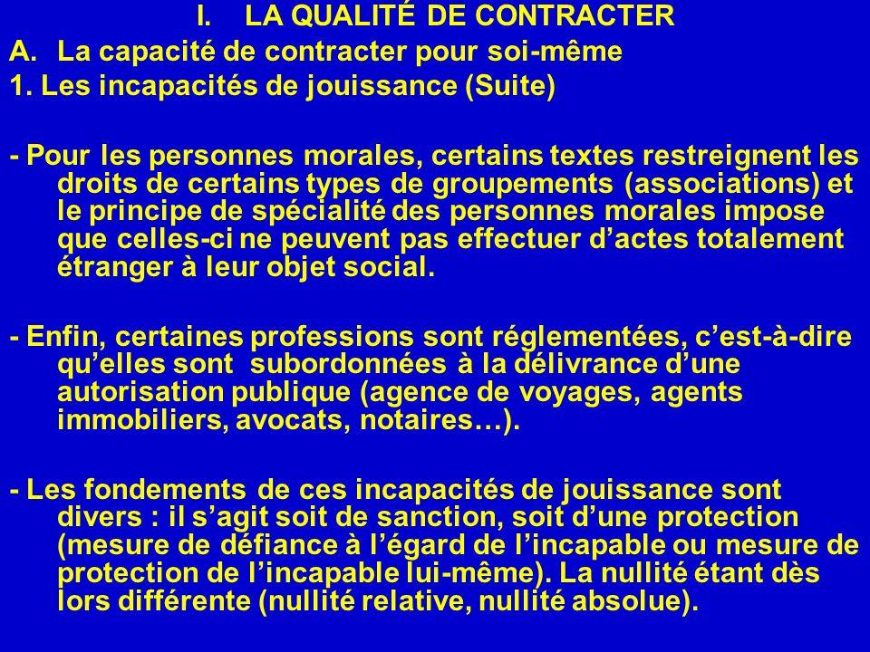 LA QUALITÉ DE CONTRACTER