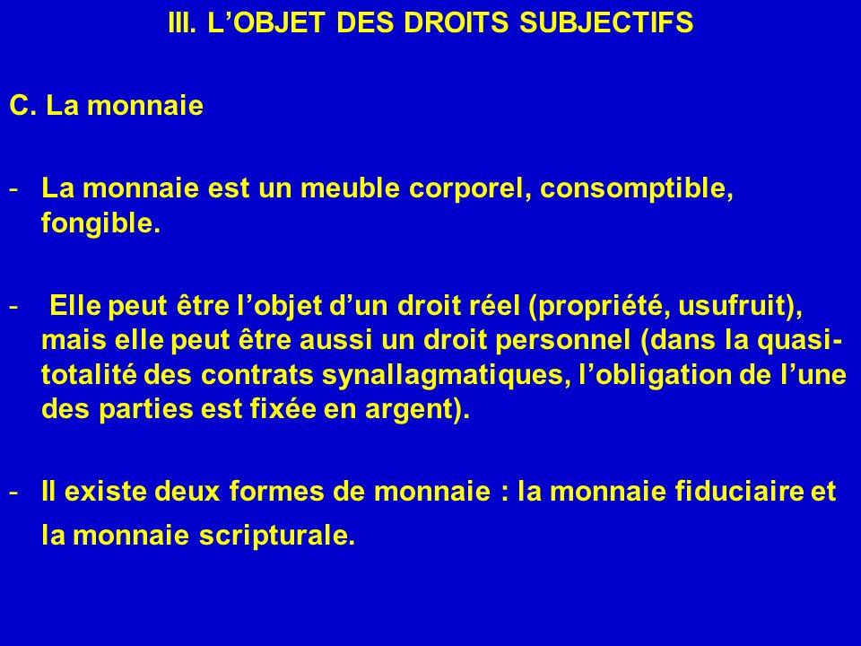 III. L'OBJET DES DROITS SUBJECTIFS