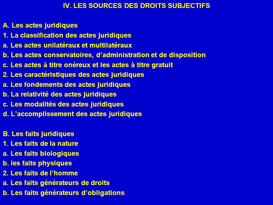 IV. LES SOURCES DES DROITS SUBJECTIFS
