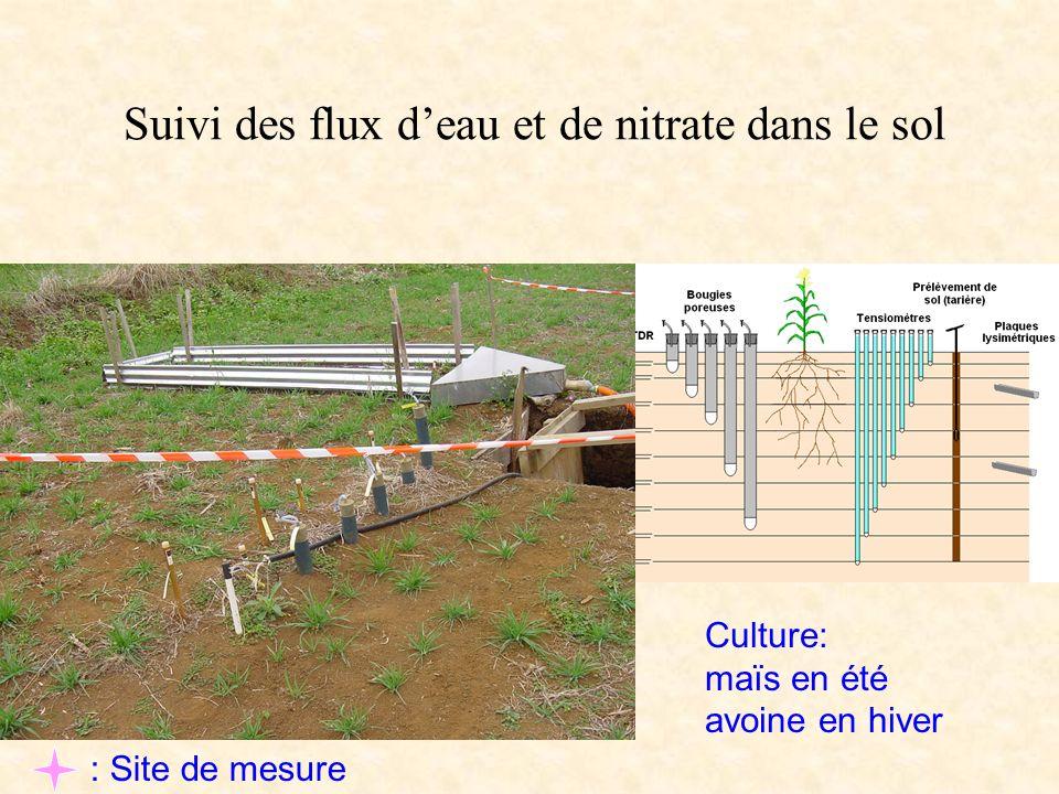 Suivi des flux d'eau et de nitrate dans le sol