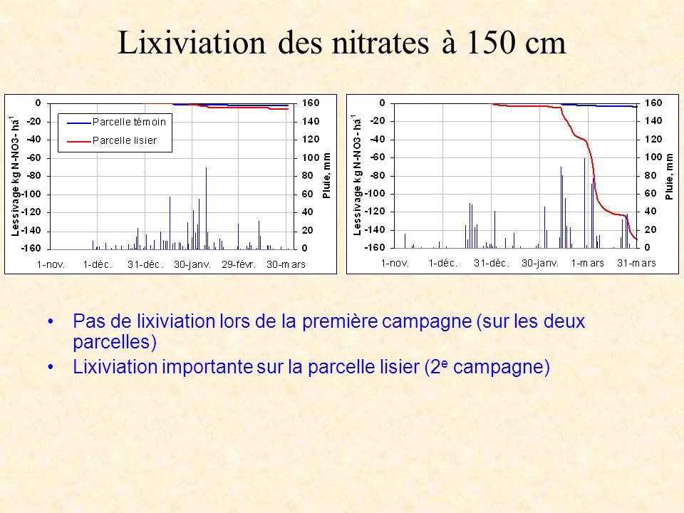 Lixiviation des nitrates à 150 cm
