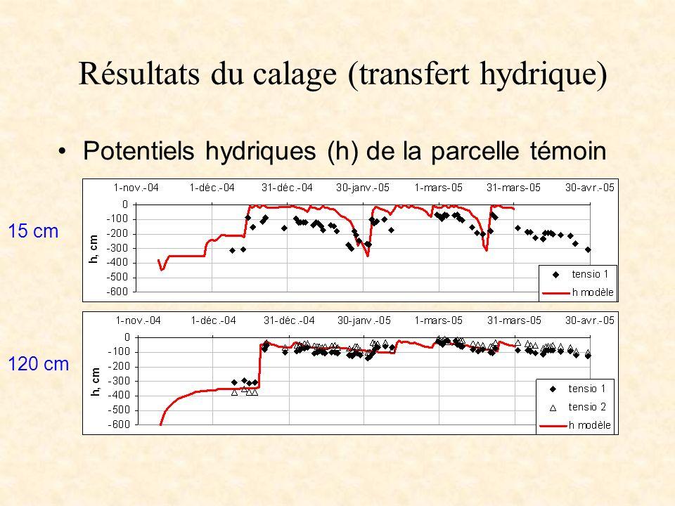 Résultats du calage (transfert hydrique)
