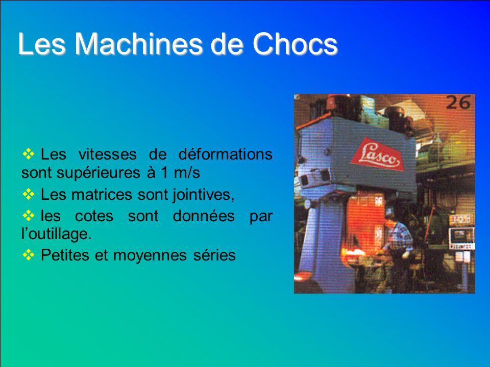 Les Machines de Chocs Les vitesses de déformations sont supérieures à 1 m/s.