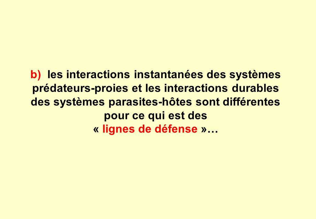 b) les interactions instantanées des systèmes prédateurs-proies et les interactions durables des systèmes parasites-hôtes sont différentes pour ce qui est des