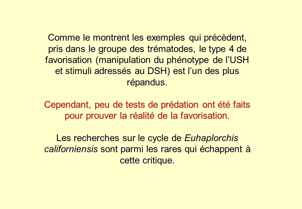 Comme le montrent les exemples qui précèdent, pris dans le groupe des trématodes, le type 4 de favorisation (manipulation du phénotype de l'USH et stimuli adressés au DSH) est l'un des plus répandus.