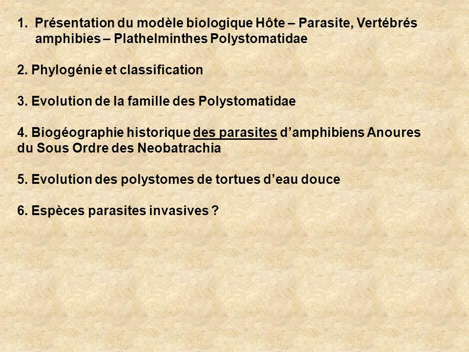 Présentation du modèle biologique Hôte – Parasite, Vertébrés