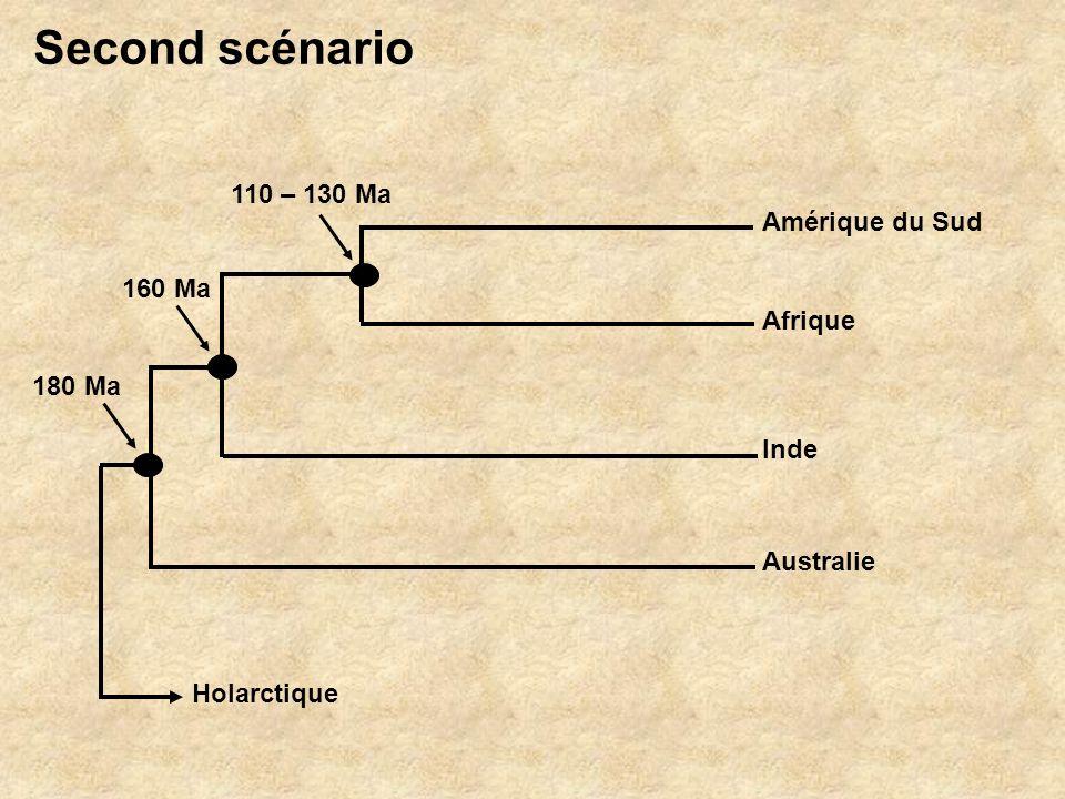 Second scénario 110 – 130 Ma Amérique du Sud 160 Ma Afrique 180 Ma