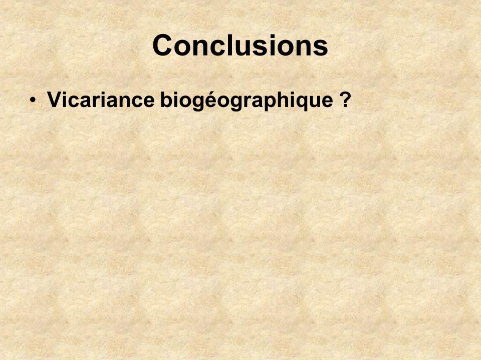 Conclusions Vicariance biogéographique