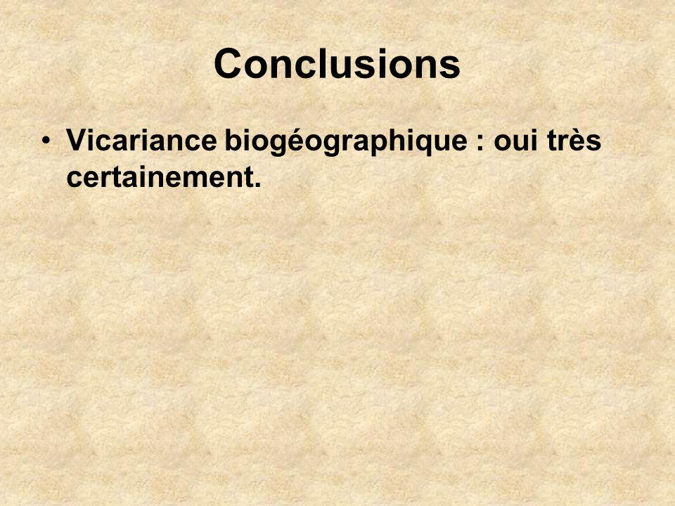 Conclusions Vicariance biogéographique : oui très certainement.
