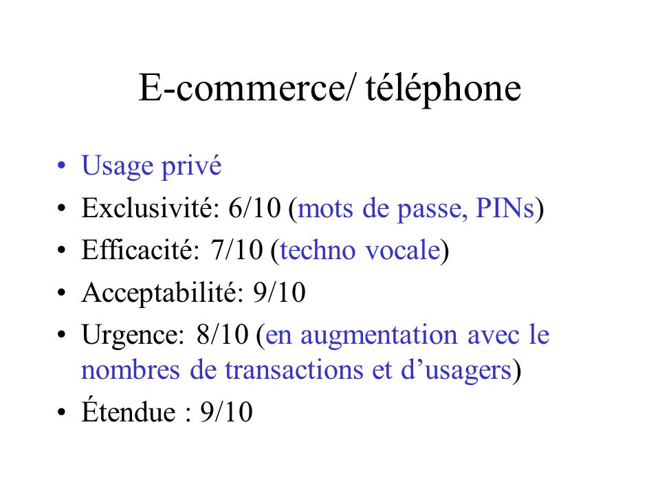 E-commerce/ téléphone