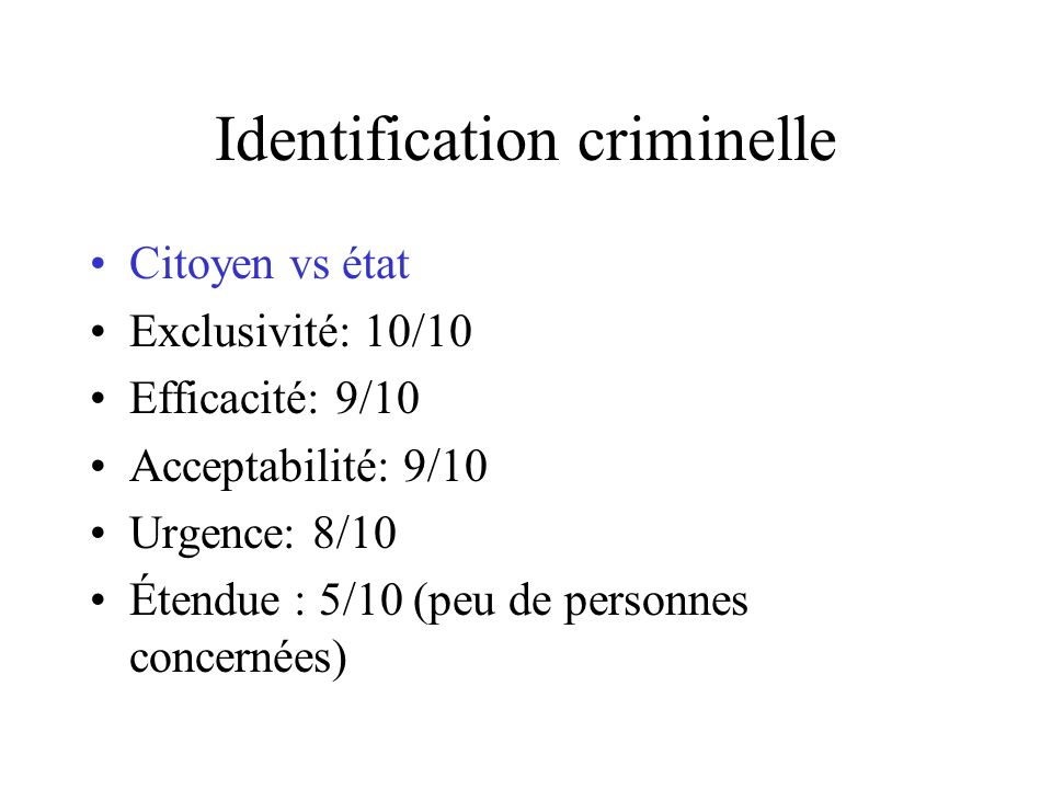 Identification criminelle
