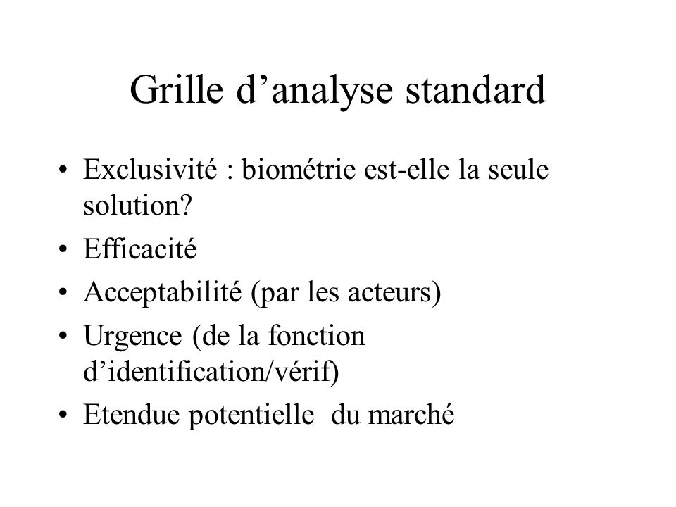 Grille d'analyse standard
