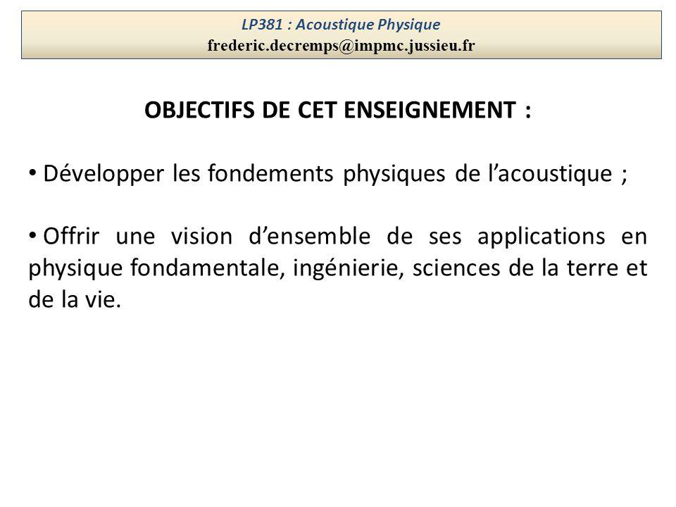 LP381 : Acoustique Physique OBJECTIFS DE CET ENSEIGNEMENT :