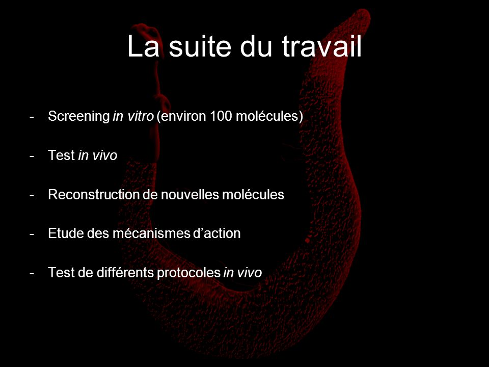 La suite du travail Screening in vitro (environ 100 molécules)