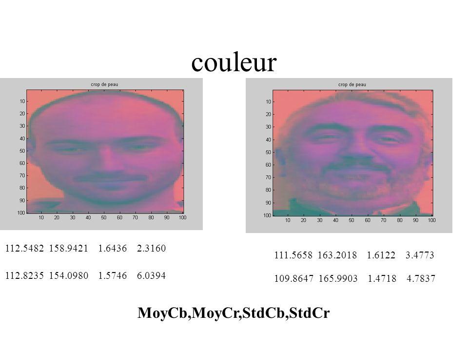 couleur MoyCb,MoyCr,StdCb,StdCr 112.5482 158.9421 1.6436 2.3160