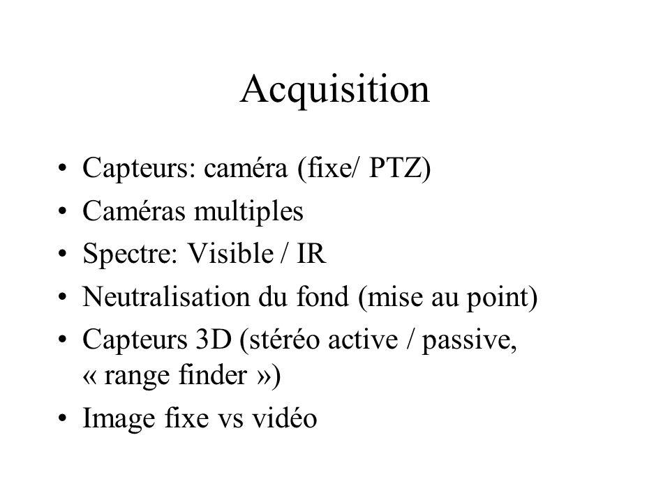 Acquisition Capteurs: caméra (fixe/ PTZ) Caméras multiples