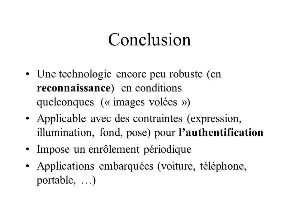 Conclusion Une technologie encore peu robuste (en reconnaissance) en conditions quelconques (« images volées »)