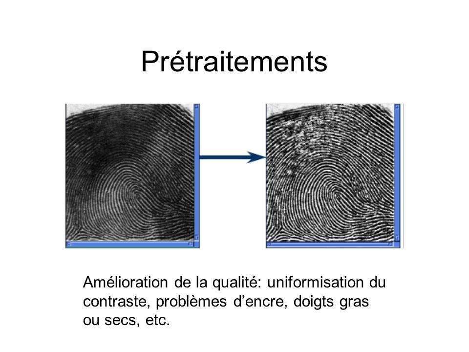 Prétraitements Amélioration de la qualité: uniformisation du contraste, problèmes d'encre, doigts gras ou secs, etc.