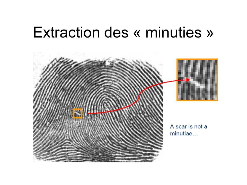 Extraction des « minuties »