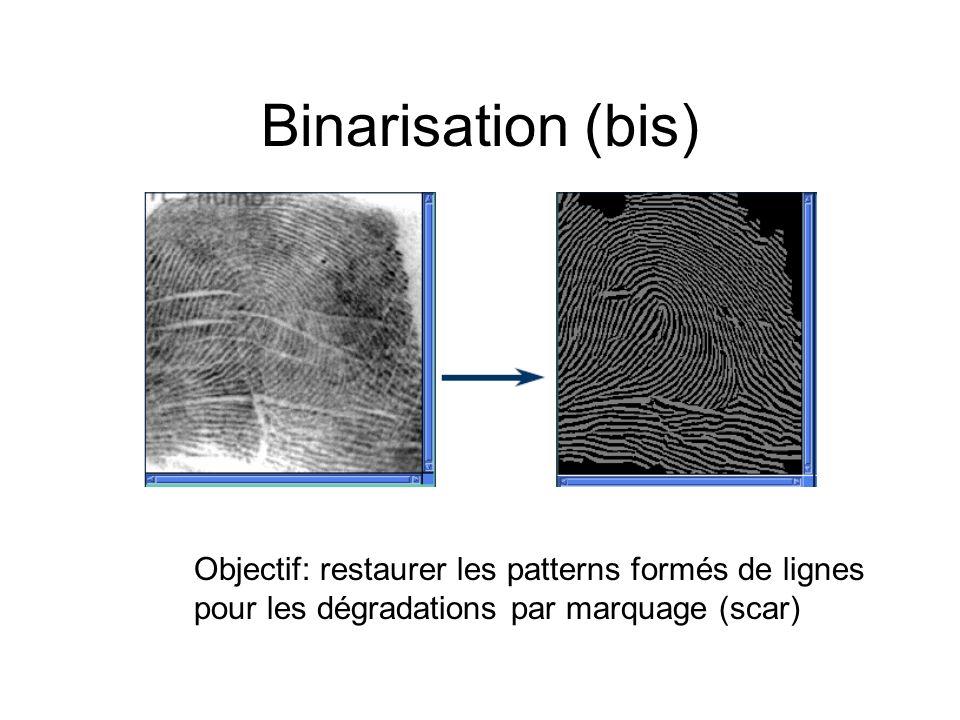 Binarisation (bis)Objectif: restaurer les patterns formés de lignes pour les dégradations par marquage (scar)