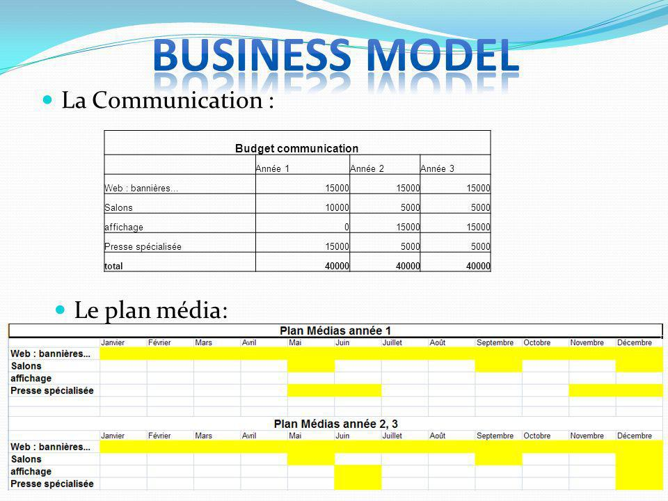 Business model La Communication : Le plan média: Budget communication