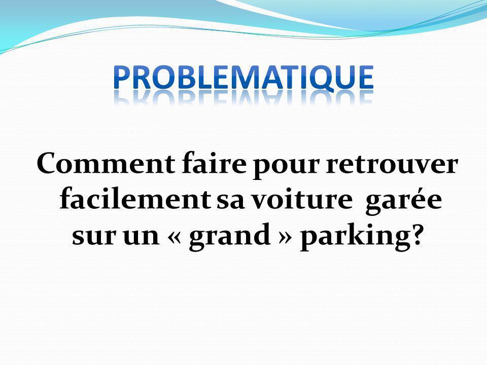 pROBLEMATIQUE Comment faire pour retrouver facilement sa voiture garée sur un « grand » parking