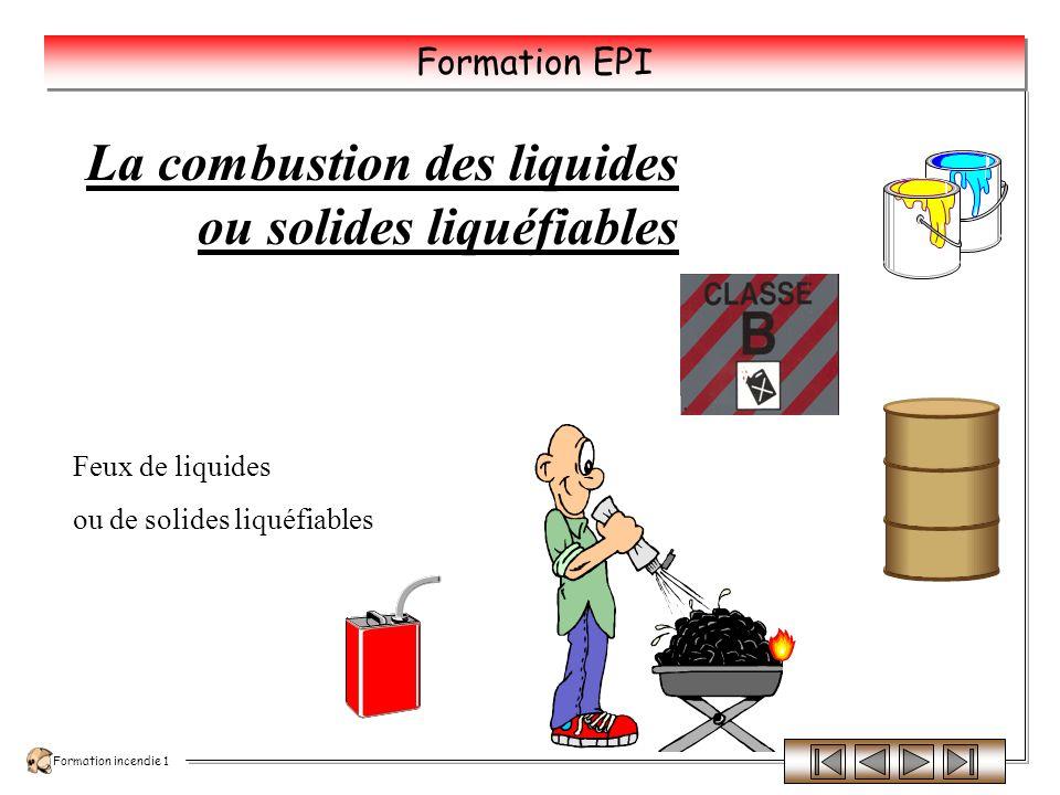 La combustion des liquides ou solides liquéfiables