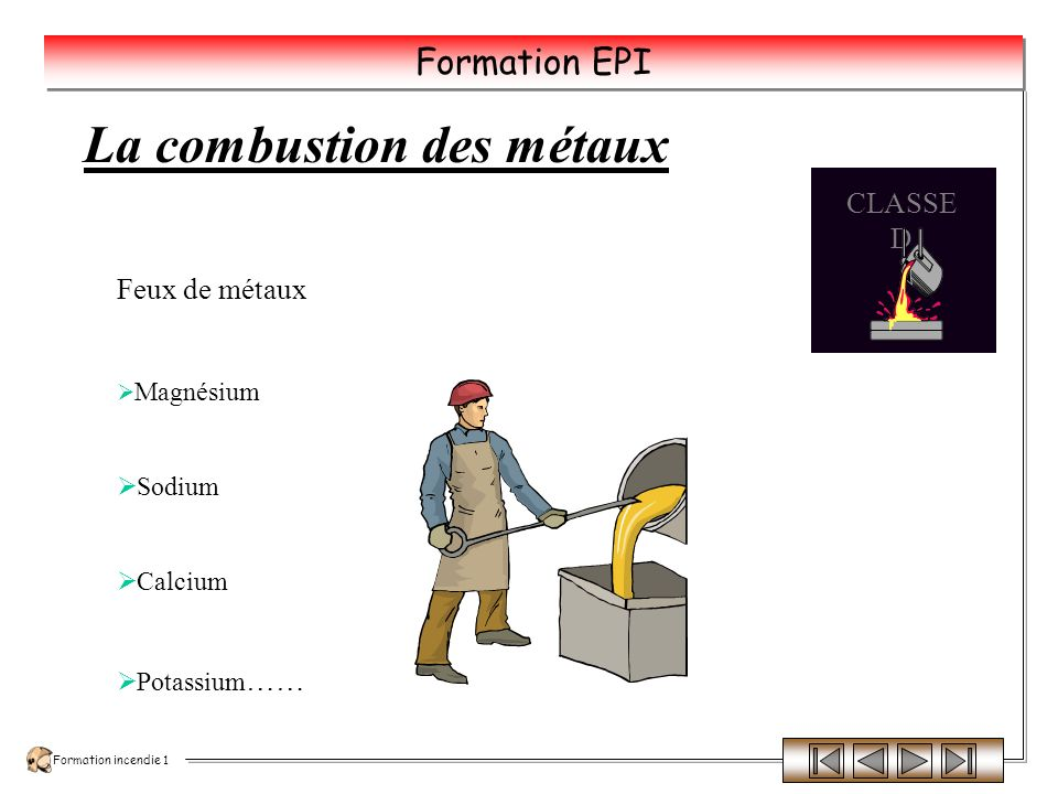 La combustion des métaux