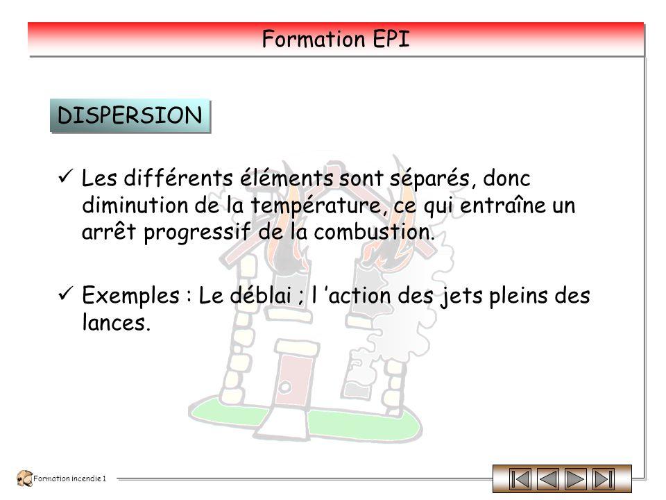 DISPERSION Les différents éléments sont séparés, donc diminution de la température, ce qui entraîne un arrêt progressif de la combustion.