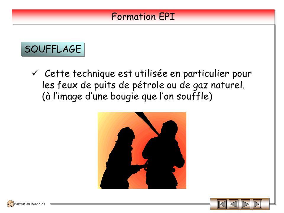 SOUFFLAGE Cette technique est utilisée en particulier pour les feux de puits de pétrole ou de gaz naturel.