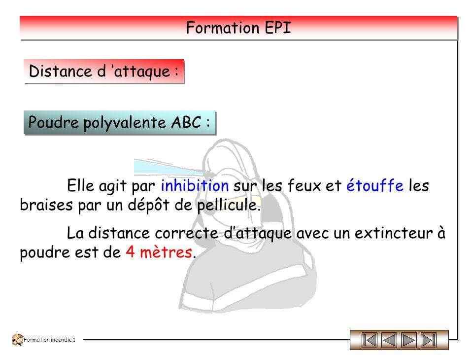 Distance d 'attaque : Poudre polyvalente ABC : Elle agit par inhibition sur les feux et étouffe les braises par un dépôt de pellicule.