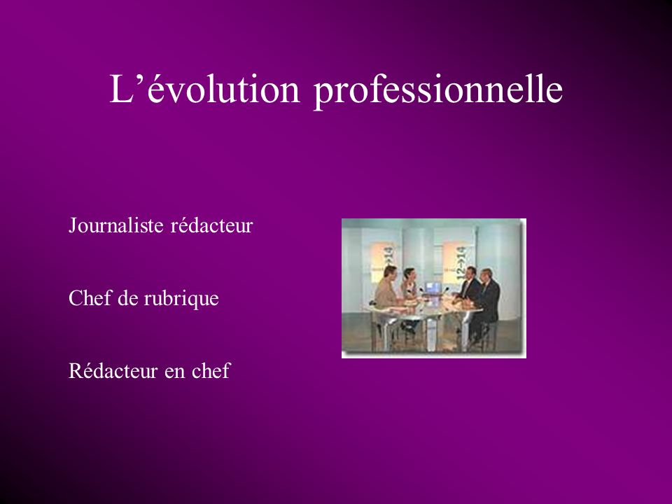L'évolution professionnelle