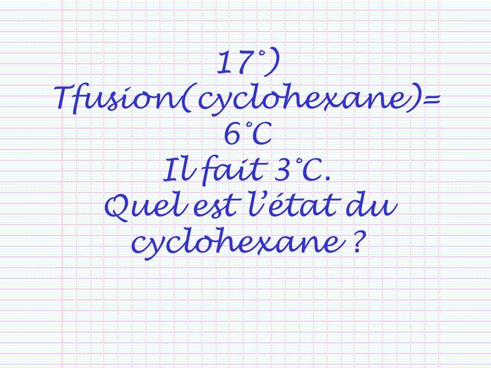 17°) Tfusion(cyclohexane)=6°C Il fait 3°C