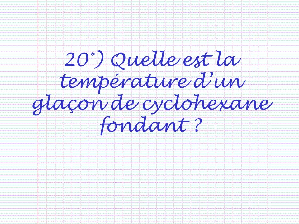 20°) Quelle est la température d'un glaçon de cyclohexane fondant