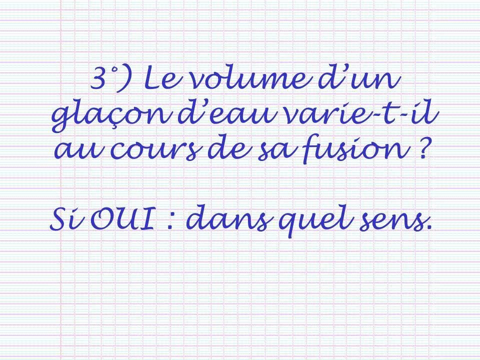 3°) Le volume d'un glaçon d'eau varie-t-il au cours de sa fusion