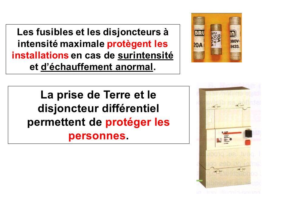 Les fusibles et les disjoncteurs à intensité maximale protègent les installations en cas de surintensité et d'échauffement anormal.