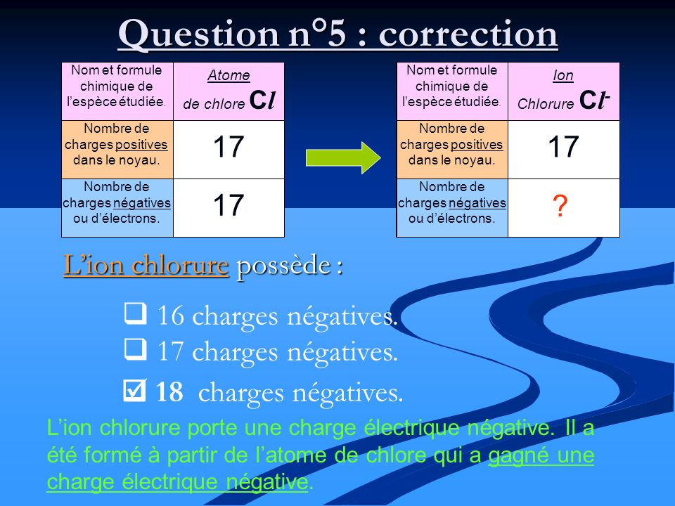 Question n°5 : correction